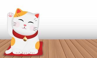 japan maneki neko cat on wood floor vector