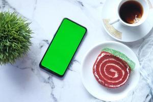 Smartphone with tea snack mock-up