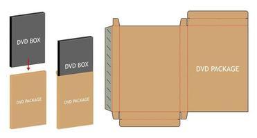 dvd paper packaging box die-cut line template vector