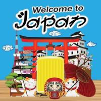 welcome to japan with japan object and landmark vector