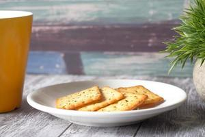 Crackers on a plate