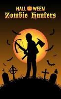 halloween zombie hunter with crossbow at graveyard vector