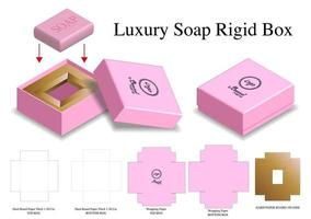 rigid box for soap mockup with dieline vector
