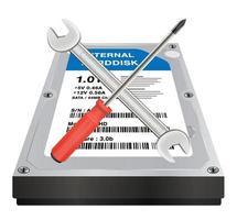 disco duro interno con un logotipo de reparación de llave inglesa y destornillador vector