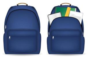 close and open student bag with study object vector