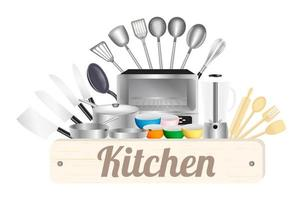 Kitchen wood board with Kitchen tool vector