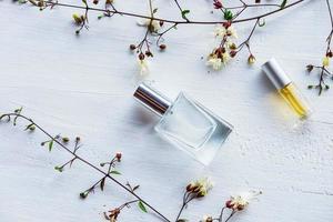 Perfume bottles flat lay