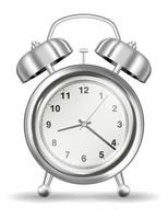 real silver alarm clock on a white background vector