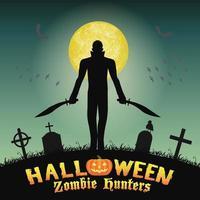 cazador de zombies de halloween con cuchillo en el cementerio vector