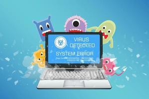 Computadora portátil rota con detección de virus vector