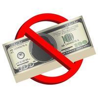 Vector de billetes de 100 usd en señal de prohibición