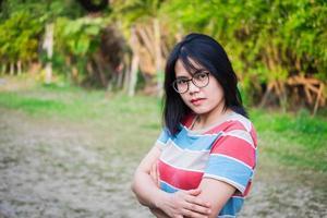 Woman posing outside photo