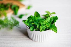 Close-up of mint in a bowl photo