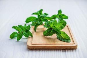 Mint on a cutting board photo