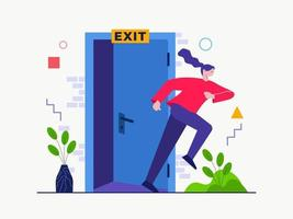 Exit from Door vector