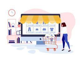 navegando por la tienda online vector
