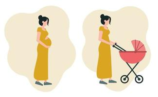 A set of two images of a pregnant girl hugging her stomach, a young mother walking with a stroller. Icons on the theme of motherhood. vector