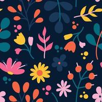 Plants and flowers on a dark background, vector seamless pattern in a flat style