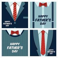 feliz día del padre conjunto de tarjetas de felicitación masculinas vector
