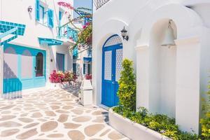 Traditional buildings on Santorini, Greece photo