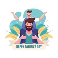 Joy at Happy Fathers Day Celebrations vector