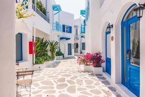 Traditional houses on Santorini, Greece photo