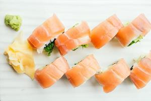 Raw fresh sushi roll with wasabi in white plate photo