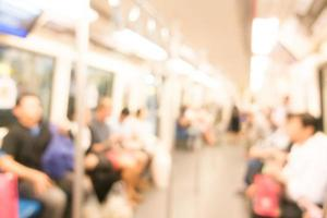 Abstract blur subway car interior for background photo