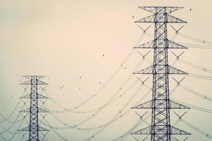 High voltage transmission towers photo