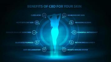 Medical benefits of cbd for your skin, dark and blue digital poster with dark neon scene, icons of medical benefits and hologram of young girl vector