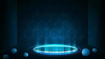 Empty blue neon podium for product presentation with honeycomb on background. Blue digital hologram podium in cylindrical shape with shiny rings in dark room and spheres on floor vector