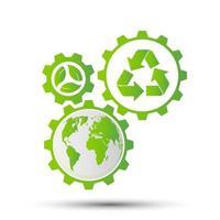 concepto de engranaje de ahorro ecológico y desarrollo de energía ambiental sostenible, ilustración vectorial vector