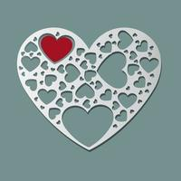 Beautiful white paper cut heart shape and red heart inside. Vector illustrations