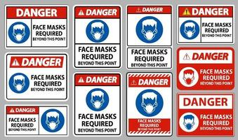 Danger Face Masks Required Beyond This Point Sign Isolate On White Background vector