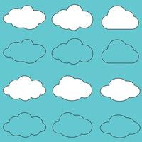 Clouds line art icon.Sky flat illustration collection for web. Vector illustration