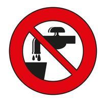 No beber agua símbolo signo aislado sobre fondo blanco. vector