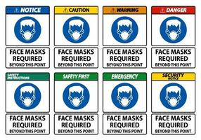 Face Masks Required Beyond This Point Sign Isolate On White Background vector