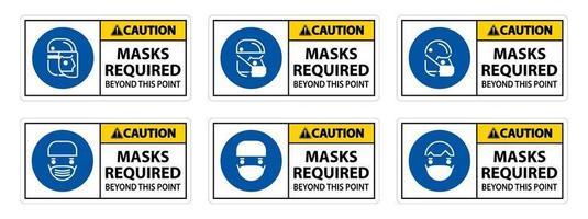 Caution Symbol Masks Required Beyond This Point Sign vector