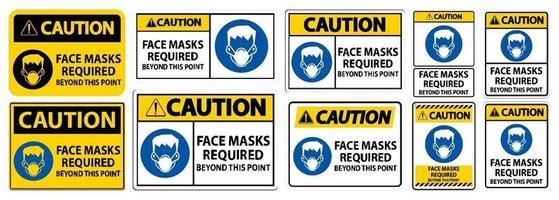 Caution Face Masks Required Beyond This Point Sign Isolate On White Background,Vector Illustration EPS.10 vector