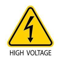 Signo de alto voltaje Flecha negra aislada en triángulo amarillo sobre fondo blanco Icono de advertencia. ilustración vectorial vector