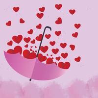 El corazón rojo está en un hermoso paraguas rosa sobre fondo rosa. vector