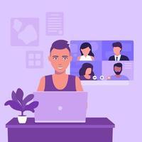 videoconferencia, reunión en línea, videollamada grupal, chica con corte de pelo corto en la computadora portátil, ilustración vectorial vector