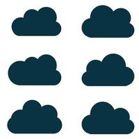 Clouds silhouettes. Vector set of clouds shapes. Collection of various forms and contours. Design elements for the weather forecast, web interface