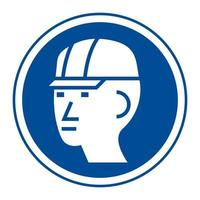 Wear Hard Hat Sign Isolate On White Background vector