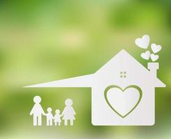 Happy family at home Mom and Dad stand holding hands with boys and girls. Home heart on the ground, blurred green background vector