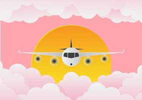 Airplane with clouds and sun on pink background.paper art.vector illustration vector