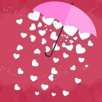 El corazón blanco está en un hermoso paraguas rosa sobre fondo rosa. tarjeta de felicitación del día de san valentín. vector