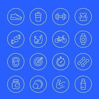Fitness and gym thin line icons vector