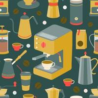 Set of coffee machine, geyser coffee maker, coffee pot, French press, coffee beans, cups. Vector seamless pattern