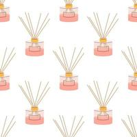 Aroma diffuser for home in pink powder color on a white background. Vector seamless pattern, in flat style